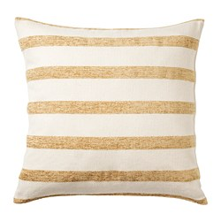 KNIPPARV - Cushion, natural golden-yellow/striped