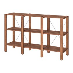TORDH - Shelving unit, outdoor, brown stained