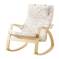 POÄNG - Kursi goyang, veneer kayu birch/Vislanda hitam/putih