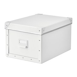 FJÄLLA - Storage box with lid, white