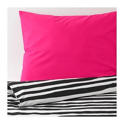 URSKOG - Quilt cover and pillowcase, zebra/striped