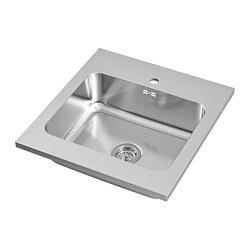 AMMERÅN - AMMERÅN, onset sink, 1 bowl, stainless steel, 60x63.5 cm