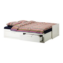 BRIMNES - Day-bed frame with 2 drawers, white
