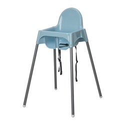 ANTILOP - Highchair with safety belt, light blue/silver-colour