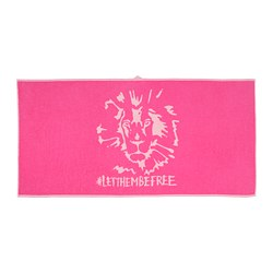 URSKOG - Bath towel, lion/pink