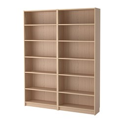 BILLY - Bookcase, white stained oak veneer