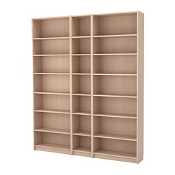 BILLY - Bookcase w height extension units, white stained oak veneer