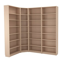 BILLY - Bookcase combination/crnr solution, white stained oak veneer