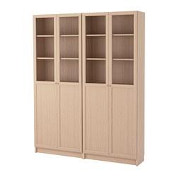 BILLY/OXBERG - Kombinasi rak buku dgn pintu, veneer kayu oak diwarnai putih/kaca