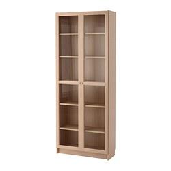 BILLY/OXBERG - Rak buku dengan pintu kaca, veneer kayu oak diwarnai putih/kaca