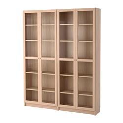 BILLY/OXBERG - Kombinasi rak buku/pintu kaca, veneer kayu oak diwarnai putih/kaca