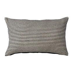 SNÖFRID - Sarung bantal kursi, hitam/putih pudar