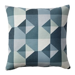 SVARTHÖ - Cushion cover, green/blue