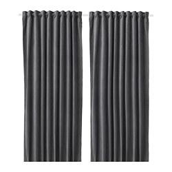 SANELA - Room darkening curtains, 1 pair, dark grey