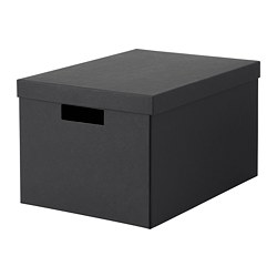TJENA - Storage box with lid, black