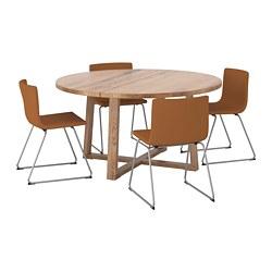 BERNHARD/MÖRBYLÅNGA - Meja dan 4 kursi, veneer kayu oak diwarnai cokelat/Mjuk emas-cokelat