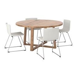 BERNHARD/MÖRBYLÅNGA - Meja dan 4 kursi, veneer kayu oak diwarnai cokelat/Mjuk putih