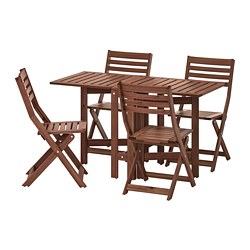 ÄPPLARÖ - Table+4 folding chairs, outdoor, brown stained