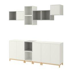 EKET - Kombinasi kabinet dengan kaki, putih/abu-abu muda