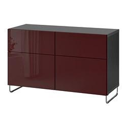 BESTÅ - Kombinasi penyimpanan dg pintu/laci, hitam-cokelat Selsviken/Sularp/high-gloss cokelat kemerahan tua