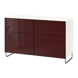 BESTÅ - Kombinasi penyimpanan dg pintu/laci, putih Selsviken/Sularp/high-gloss cokelat kemerahan tua