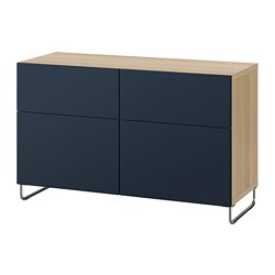 BESTÅ - Kombinasi penyimpanan dg pintu/laci, efek kayu oak diwarnai putih/Notviken/Sularp biru