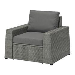 SOLLERÖN - Armchair, outdoor, dark grey/Frösön/Duvholmen dark grey