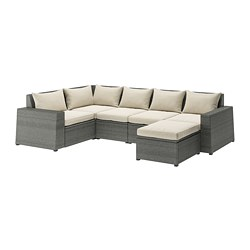 SOLLERÖN - Sofa sdt 4 ddkn mdlr, luar ruangan, dengan bangku kaki abu-abu tua/Hållö krem