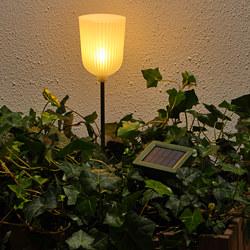 SOLVINDEN - Lampu tancap LED tenaga surya, luar ruang berbentuk loceng/bunga putih