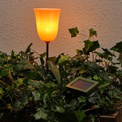SOLVINDEN - LED solar-powered ground stick, outdoor/tulip pink