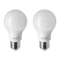 RYET - Bohlam LED E27 806 lumen, bulat/putih opal
