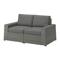 SOLLERÖN - 2-seat modular sofa, outdoor, dark grey/Frösön/Duvholmen dark grey