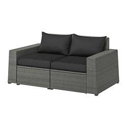 SOLLERÖN - 2-seat modular sofa, outdoor, dark grey/Hållö black