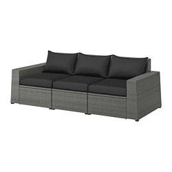 SOLLERÖN - 3-seat modular sofa, outdoor, dark grey/Hållö black