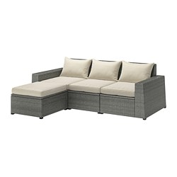 SOLLERÖN - 3-seat modular sofa, outdoor, with footstool dark grey/Hållö beige