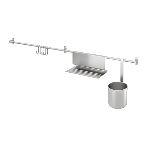 KUNGSFORS rails w hooks, tblt stand+container