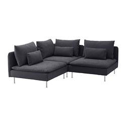 SÖDERHAMN - Sofa sudut, 3 dudukan, Samsta abu-abu tua