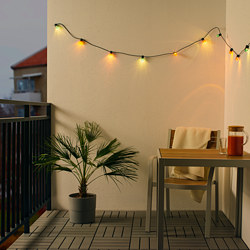 SOLVINDEN - LED lighting chain with 12 bulbs, battery-operated/outdoor multicolour