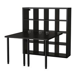 KALLAX - Kombinasi meja, hitam-cokelat