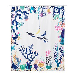 LASJÖN - Shower curtain, multicolour