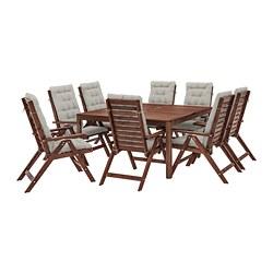 ÄPPLARÖ - Meja+8 kursi recliner, l.ruang, diwarnai cokelat/Kuddarna abu-abu