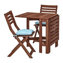 ÄPPLARÖ - Meja+2 kursi lipat, luar rg, diwarnai cokelat/Kuddarna biru muda