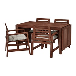ÄPPLARÖ - Table+4 chairs w armrests, outdoor, brown stained/Kuddarna grey