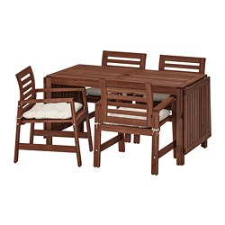 ÄPPLARÖ - Table+4 chairs w armrests, outdoor, brown stained/Kuddarna beige