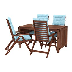 ÄPPLARÖ - Table+4 reclining chairs, outdoor, brown stained/Kuddarna light blue
