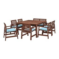 ÄPPLARÖ - Meja+6 kursi berlengan+bangku, l.rg, diwarnai cokelat/Kuddarna biru muda