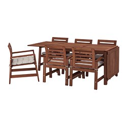 ÄPPLARÖ - Table+6 chairs w armrests, outdoor, brown stained/Kuddarna grey