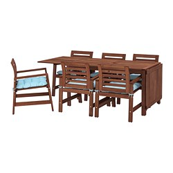 ÄPPLARÖ - Table+6 chairs w armrests, outdoor, brown stained/Kuddarna light blue