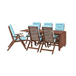 ÄPPLARÖ - Meja+6 kursi recliner, l.ruang, diwarnai cokelat/Kuddarna biru muda