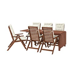 ÄPPLARÖ - Table+6 reclining chairs, outdoor, brown stained/Kuddarna beige